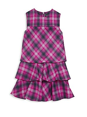 Little Girl's Tiered Plaid Dress