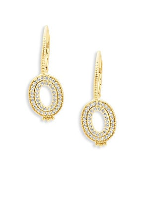 Freida Rothman  CLASSIC CUBIC ZIRCONIA AND STERLING SILVER OPEN OVAL EARRINGS