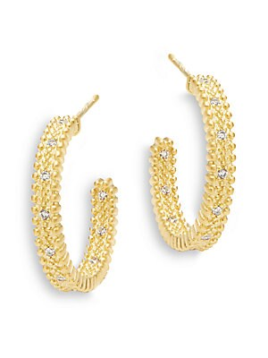 Freida Rothman  CLASSIC CUBIC ZIRCONIA AND STERLING SILVER BEADED HOOP EARRINGS