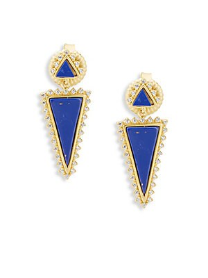 CLASSIC CUBIC ZIRCONIA AND STERLING SILVER INDIGO ARMOUR SLICE LAPIS DROP EARRINGS