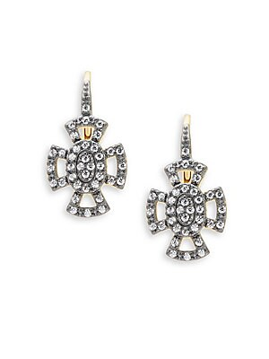 Freida Rothman  CLASSIC CUBIC ZIRCONIA AND STERLING SILVER OPEN PAVE MALTESE LEVERBACK EARRINGS