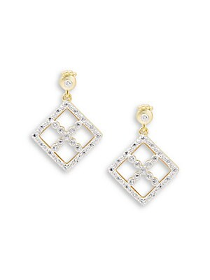 Freida Rothman  CLASSIC MOTHER-OF-PEARL, CUBIC ZIRCONIA AND STERLING SILVER SHIELD DROP EARRINGS
