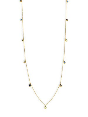 Freida Rothman  MODERN MOSAIC CUBIC ZIRCONIA AND STERLING SILVER MULTI STONE STATION NECKLACE