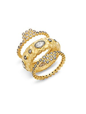 Freida Rothman  CONTEMPORARY DECO CUBIC ZIRCONIA AND STERLING SILVER TEXTURED STONE RING