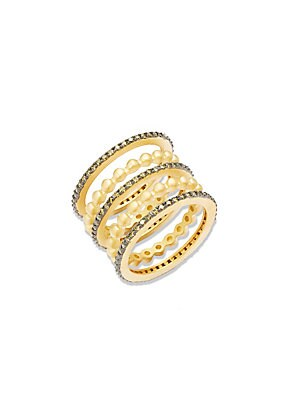 Freida Rothman  CONTEMPORARY DECO CUBIC ZIRCONIA AND STERLING SILVER FIVE STACK ETERNITY RING SET