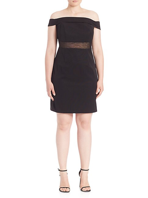 ABS | Plus Off-The-Shoulder Cocktail Dress | Goxip