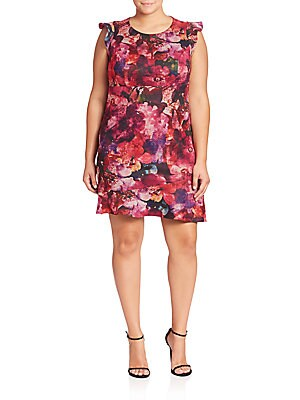 abs plus size female plus floral printed dress