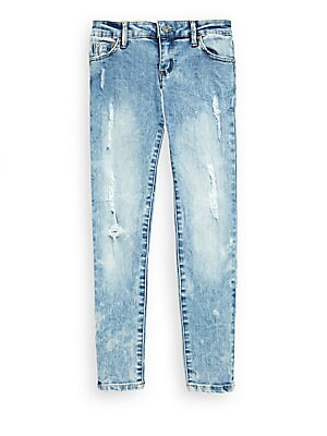 Girl's Washed Ripped Skinny Jeans