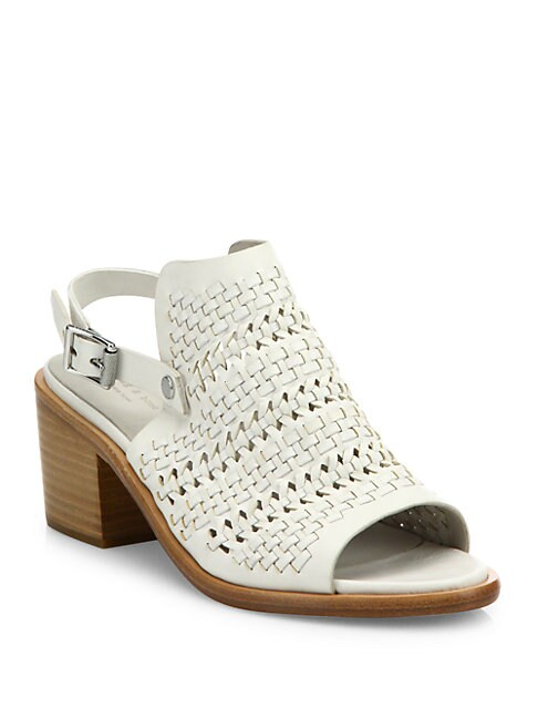 Wyatt Woven Leather Mid-Heel Slingbacks