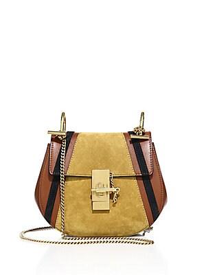Drew Mini Patchwork Leather & Suede Saddle Crossbody Bag