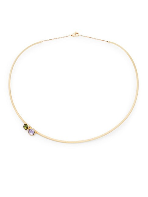 18K GOLD, AMETHYST & GREEN TOURMALINE COLLAR NECKLACE