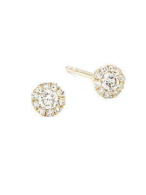 Diamond & 14 K Rose Gold Dagger Stud Earrings by Ef Collection