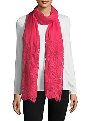 Floral Lace Trim Silk Stole