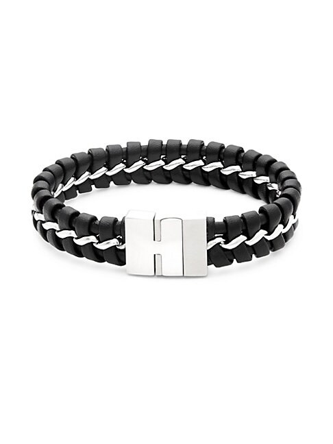 CHISEL | Leather & Woven Stainless Steel Bracelet | Goxip