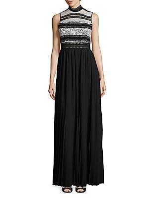 abs by allen schwartz female mixedmedia pleated gown