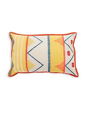 Geometric-Print Cotton Throw Pillow