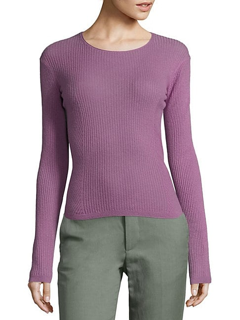Rib-Knit Cropped Cashmere Pullover