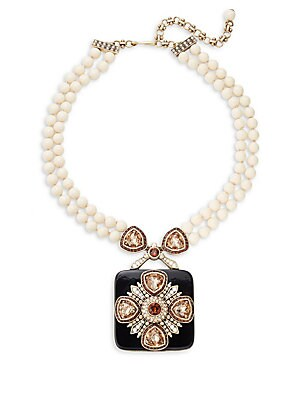 Ivory Crystal Rhinestone, Glass Pearl Necklace