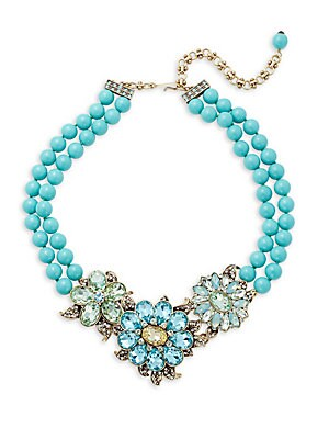 Turquoise Crystal Rhinestone, Glass Pearl Necklace