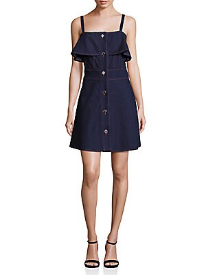 Button-Front Denim Dress