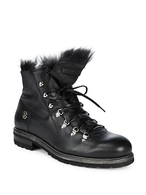 Fur-Trim Leather Combat Boots