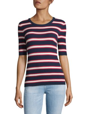 Set  STRIPED ELBOW-SLEEVE KNIT TOP