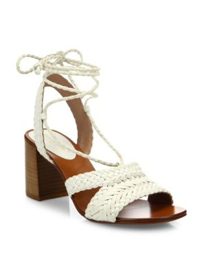 Lawson Leather Lace-Up Sandals in Optic White