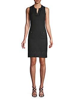 Karl Lagerfeld Paris - Embroidered Tweed Sheath Dress