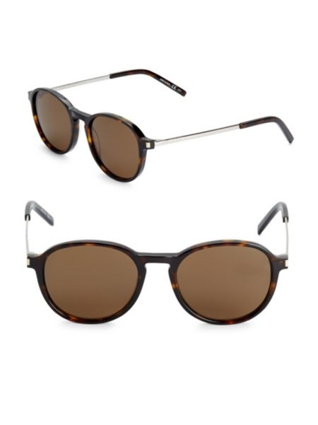 51 Mm Rounded Sunglasses by Saint Laurent