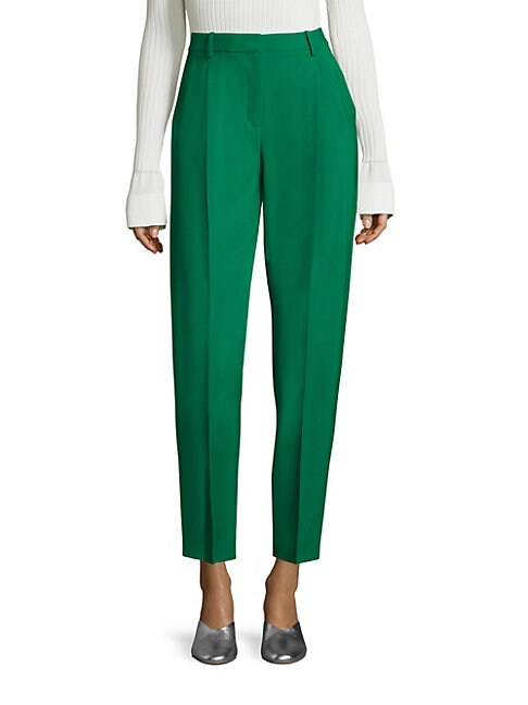 Wool Blend Pleated Front Pants