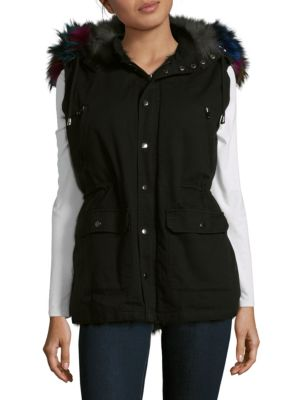 ANNABELLE NEW YORK Dyed Fox Trimmed Vest in Black Grey