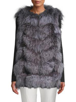 LA FIORENTINA Fluffy Fox Fur Vest in Blue