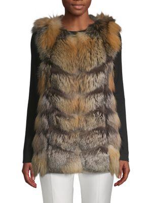 LA FIORENTINA Fluffy Fox Fur Vest in Natural
