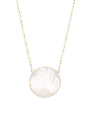 Saks Fifth Avenue  MOTHER-OF-PEARL ROUND PENDANT NECKLACE