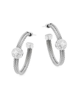 Alor  18K White Gold, Stainless Steel & Diamond Hoop Earrings