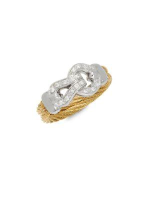 Alor  Diamonds, 18K White & Yellow Gold Ring