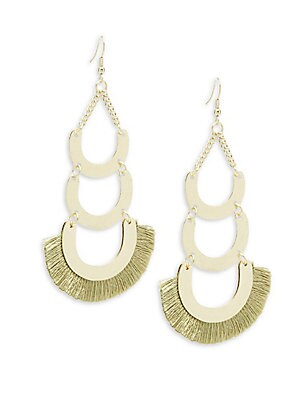 Frayed Trim Layered Dangle & Drop Earrings