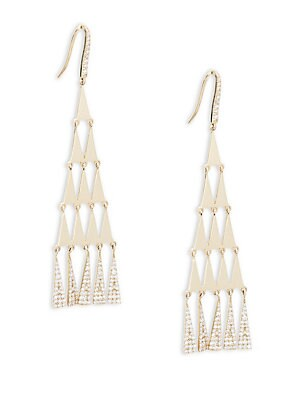 Lana Jewelry  14K YELLOW GOLD & CRYSTAL TRIANGULAR EARRINGS