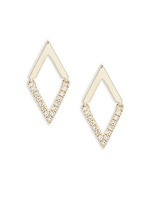 White Diamond, Black Diamond And 14 K Yellow Gold Stud Earrings by Casa Reale