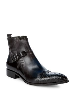 JO GHOST Buckle Leather Ankle Boots in Blue
