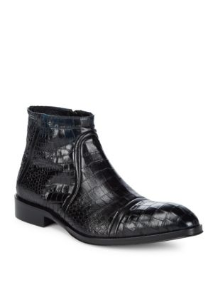 JO GHOST Almond Toe Leather Ankle Boots in Blue