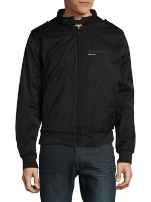 MEMBERS ONLY Heavy Twill Zip-Front Jacket in Black