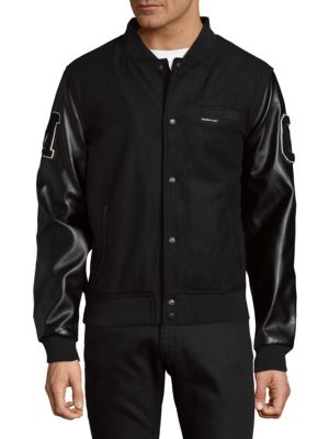 MEMBERS ONLY Patched Button-Front Varsity Jacket in Black