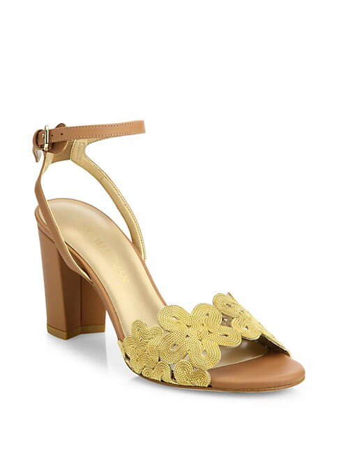 Chainreaction Leather Block Heel Sandals