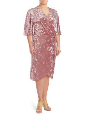 Alexia Admor Plus Flutter-Sleeve Wrap Dress