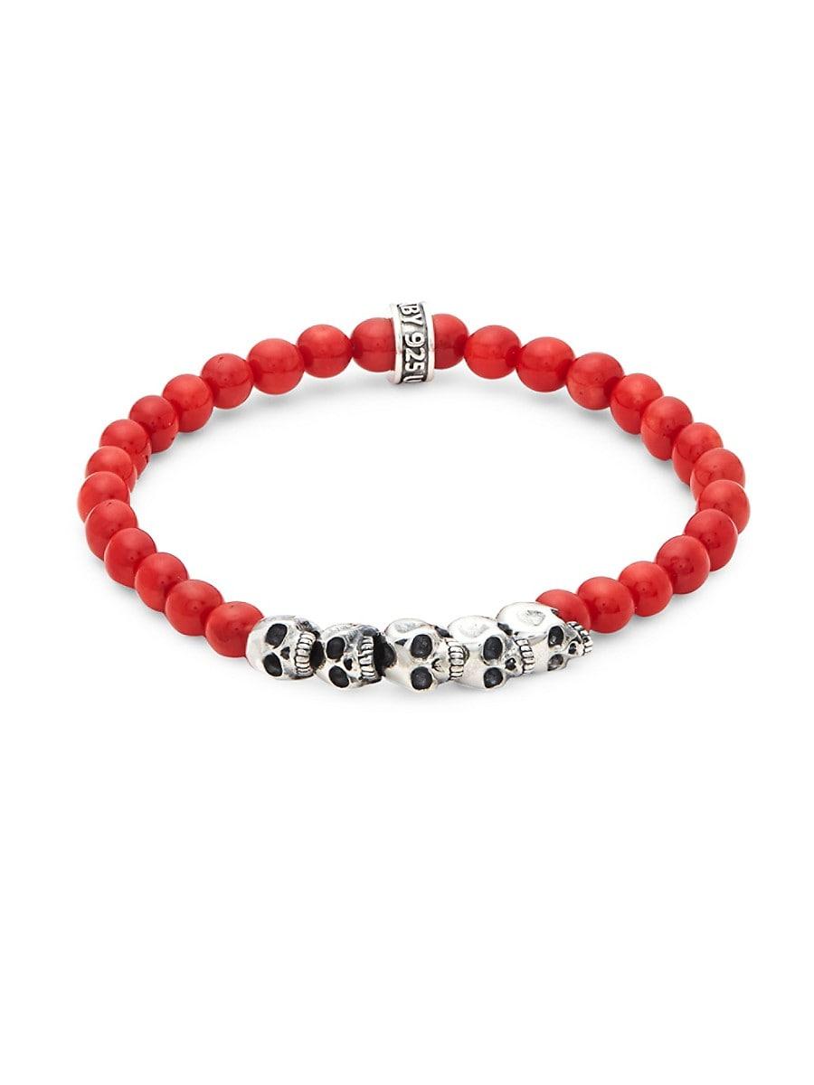 Men's Coral Bead Skull Bracelet