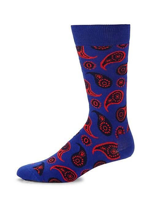 Paisley Print Crew Socks