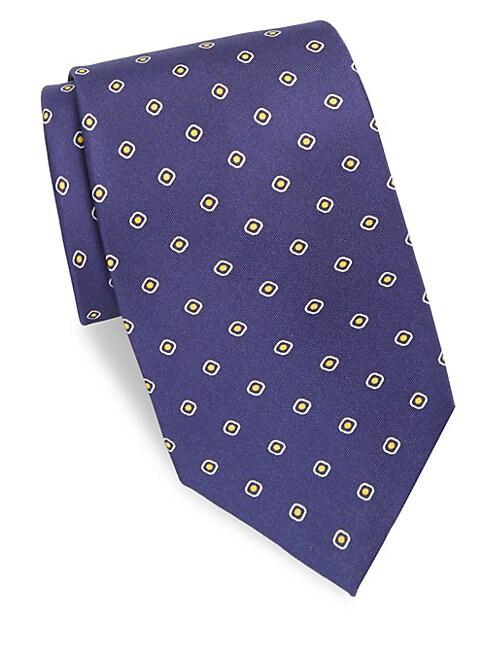 Dot & Square Printed Silk Tie
