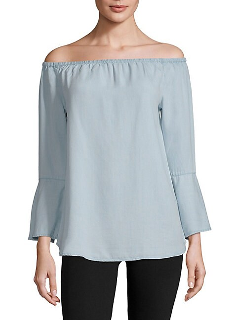 BEACH LUNCH LOUNGE   Off-The-Shoulder Denim Blouse   Goxip