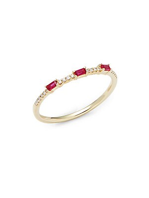 Kc Designs  STACK & STYLE DIAMOND, RUBY & 14K YELLOW GOLD RING
